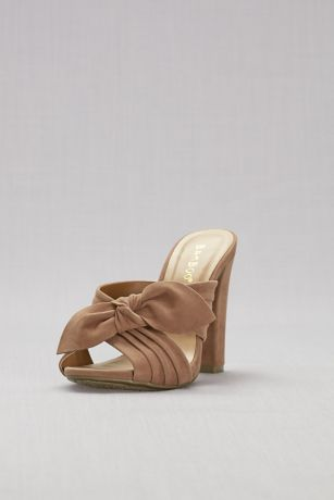 Knotted Faux-Suede Mules
