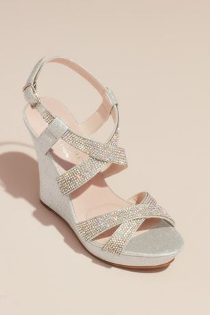 Blossom Grey;Pink;White Heeled Sandals (Crossing Strap Crystal Embellished Platform Wedges)