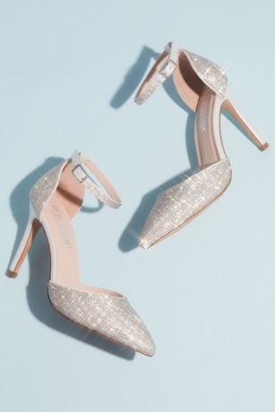 Blossom White Pumps (Micro Crystal Pointy Toe Ankle Strap Heels)
