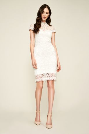 Short Sheath Wedding Dress - Tadashi Shoji