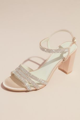 David's Bridal Ivory Heeled Sandals (Satin Block Heel Sandals with Pave Crystal Straps)