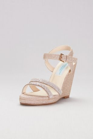 Dyeables Grey;Pink (Glitter Platform Wedges with Crystal Straps)