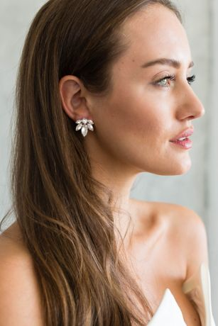 Swarovski Crystal and Sterling Cluster Earrings