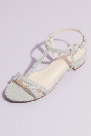 David's Bridal Grey;Yellow Flat Sandals (Glitter T-Strap Sandals with Low Block Heel)