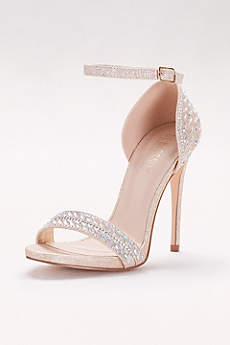 Blossom Beige Peep Toe Shoes (Metallic Ankle-Strap Sandals with Iridescent Gems)