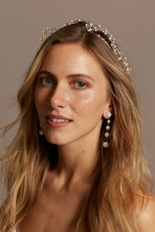 Pearl and Crystal Scalloped Vine Tiara