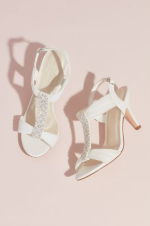 David's Bridal White Heeled Sandals (Pearl and Crystal T-Strap Mid-Heels)