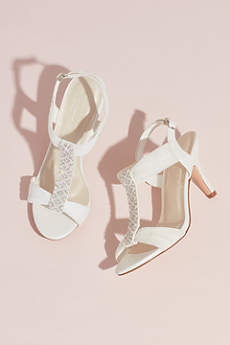 Pearl and Crystal T-Strap Mid-Heels