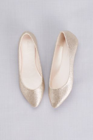 David's Bridal Grey;Yellow Closed Toe Shoes (Allover Glitter Pointed Toe Flats)