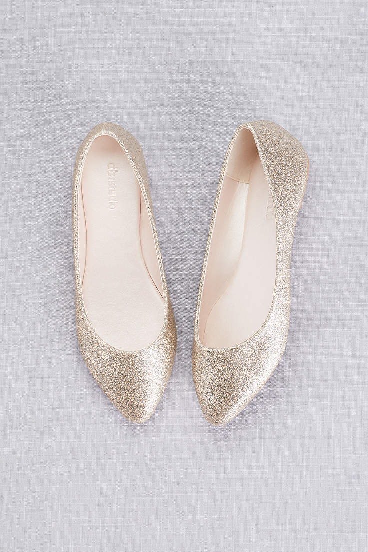 9fc2df518299 David s Bridal Grey Yellow Closed Toe Shoes (Allover Glitter Pointed Toe  Flats)
