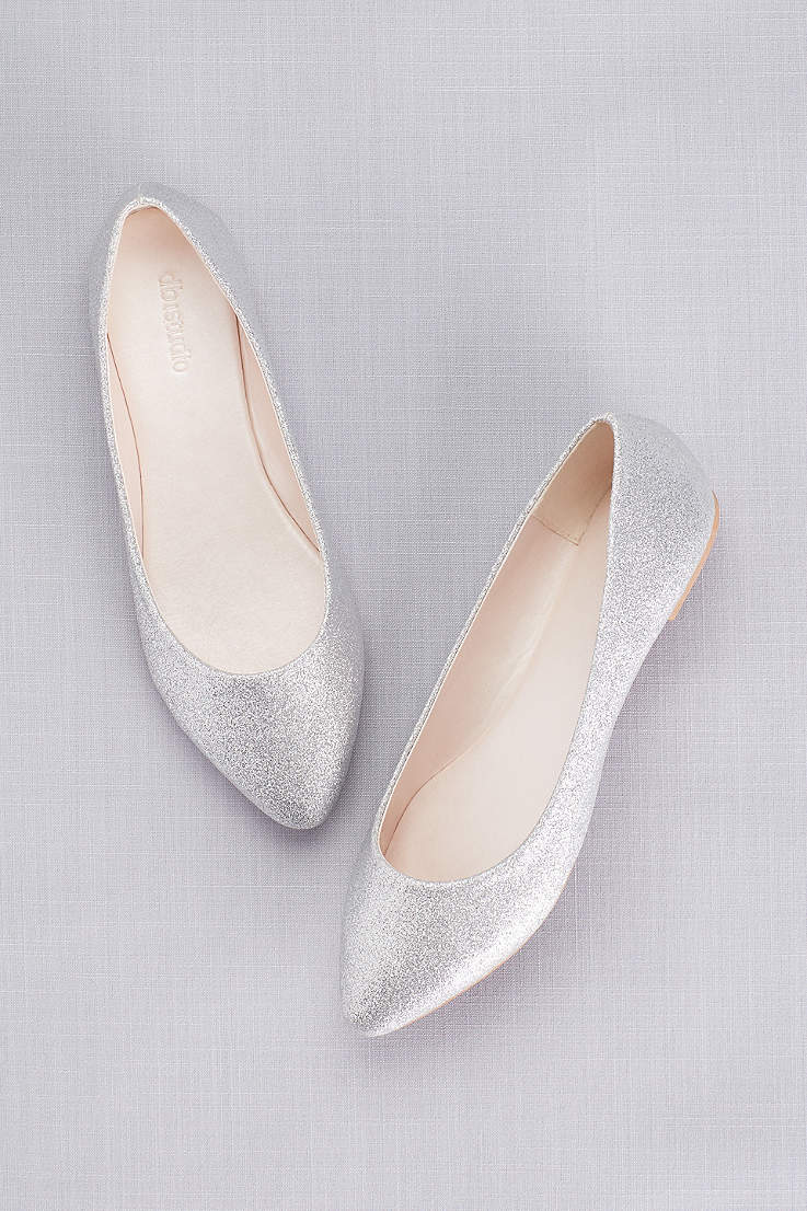 David s Bridal Grey Yellow Closed Toe Shoes (Allover Glitter Pointed Toe  Flats) 9520219e3759