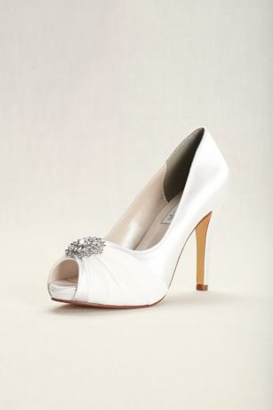 39d976ab4e7 Touch Ups White (Dyeable Chiffon and Satin Peep-Toe Heels)