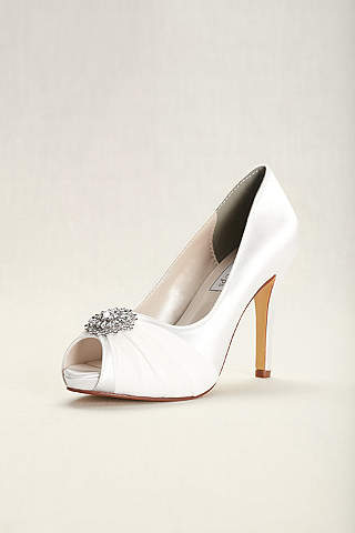 Touch Ups White Dyeable Chiffon And Satin P Toe Heels