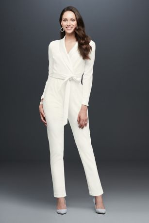 Short Jumpsuit Long Sleeves Dress - Adrianna Papell