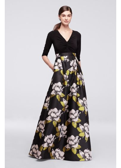 Long Dress With Bold Floral Skirt And 34 Sleeves Davids Bridal
