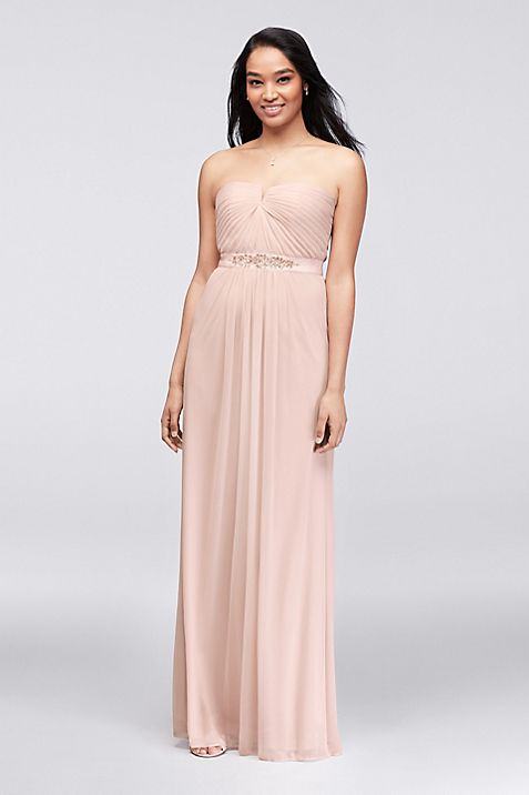 Embellished-Waist Long Mesh Bridesmaid Dress | David\'s Bridal