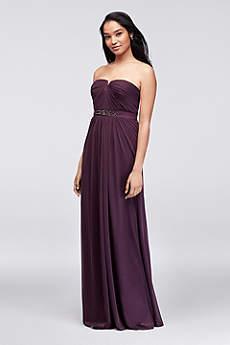 Embellished-Waist Long Mesh Bridesmaid Dress
