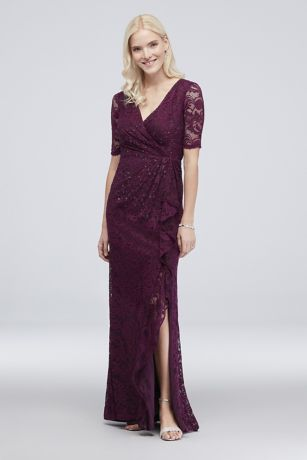 Sequin Lace 3/4 Sleeve Sheath Dress with Cascade