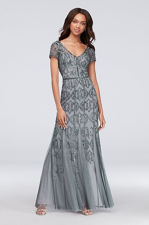 Beaded Mesh V-Neck Sheath Gown with Cap Sleeves   David\'s Bridal