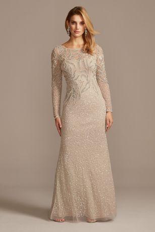 Long Sheath Long Sleeves Dress - Adrianna Papell