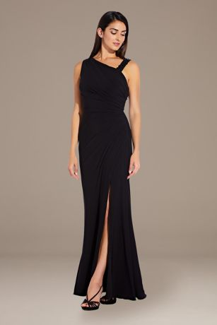Long A-Line One Shoulder Dress - Adrianna Papell