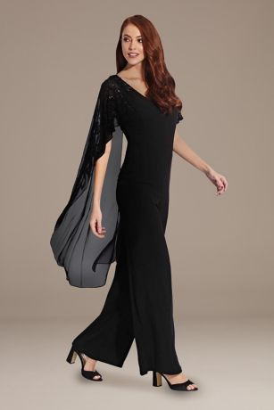 Long Jumpsuit Capelet Dress - Adrianna Papell