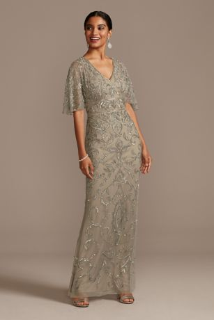 Long Mermaid / Trumpet Elbow Sleeves Dress - Adrianna Papell