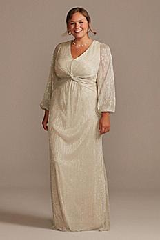 Balloon Sleeve Crinkle Metallic Plus Size Dress AP1E207094W
