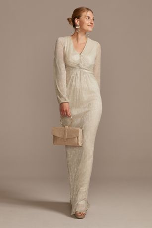 Long Sheath Long Sleeves Dress - Adrianna Papell