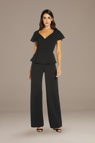 Long Jumpsuit Short Sleeves Dress - Adrianna Papell