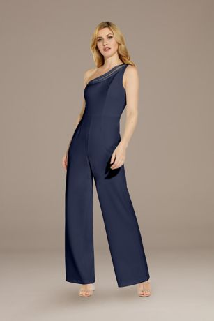 Long Jumpsuit One Shoulder Dress - Adrianna Papell