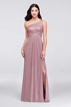 One-Shoulder Sequin and Mesh Bridesmaid Dress