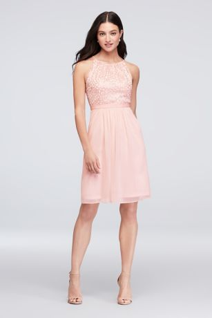 Sequin and Mesh High-Neck Short Bridesmaid Dress