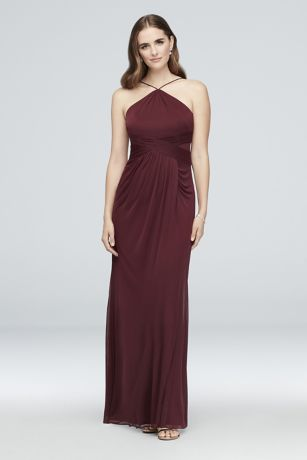 Y-Neck Mesh Bridesmaid Dress with Pleated Waist