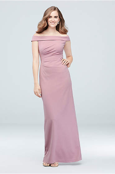 Off-the-Shoulder Stretch Crepe Ruched Dress