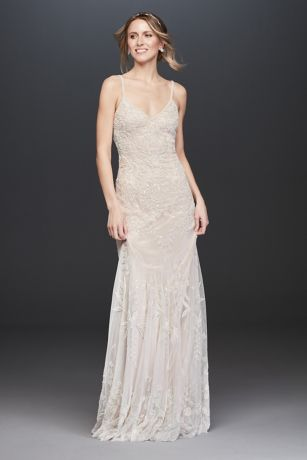 Allover Floral Beaded Sheath Wedding Dress