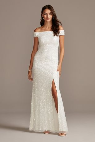 Allover Sequin Off-the-Shoulder Sheath Dress