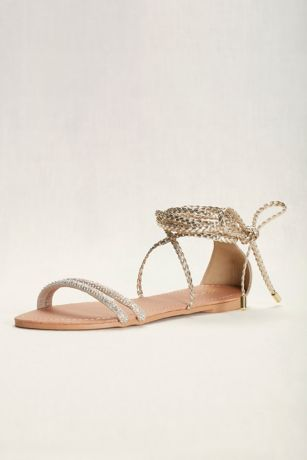 Qupid Yellow Flat Sandals (Braided Goddess Sandal)