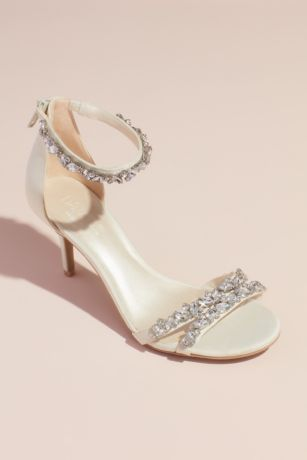 David's Bridal Ivory Heeled Sandals (Jeweled Satin Ankle Strap Heels)