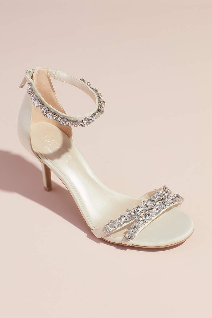 68e5d83c91 David's Bridal Ivory Heeled Sandals (Jeweled Satin Ankle Strap Heels)