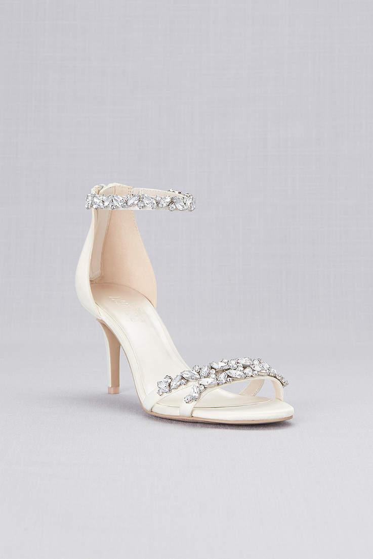David s Bridal Ivory Heeled Sandals (Jeweled Satin Ankle Strap Heels) b5832dd17112
