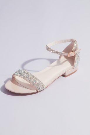 Blossom Pink Flat Sandals (Crystal-Encrusted Flat Sandals)
