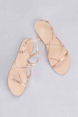 16784c20e9d David s Bridal Pink Flat Sandals (Strappy Flat Sandals with Ankle Closure)