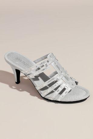 New York Transit Grey;Yellow Heeled Sandals (Strappy Metallic Slip-On Heels with Mirror Beads)