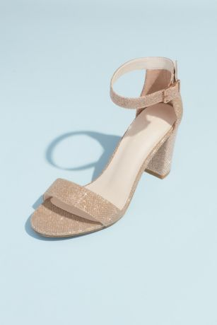 David's Bridal Beige;Black;Grey;Multi;Pink;Yellow Heeled Sandals (Block Heel Ankle Strap Sandal)