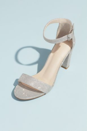 David's Bridal Beige;Black;Grey;Pink;White;Yellow Heeled Sandals (Block Heel Ankle Strap Sandal)