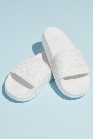 David's Bridal White Flat Sandals (Lace Strap Foam Pool Slide Sandal)