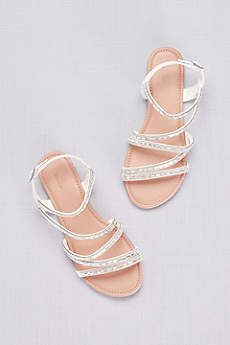David's Bridal White Sandals (Strappy Crystal-Encrusted Flat Sandals)