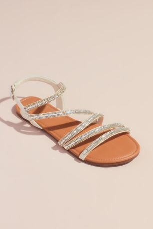 David's Bridal White Flat Sandals (Strappy Crystal-Encrusted Flat Sandals)