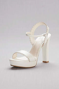 David's Bridal Ivory Sandals (Pearlized Platform Sandals with Scalloped Edges)